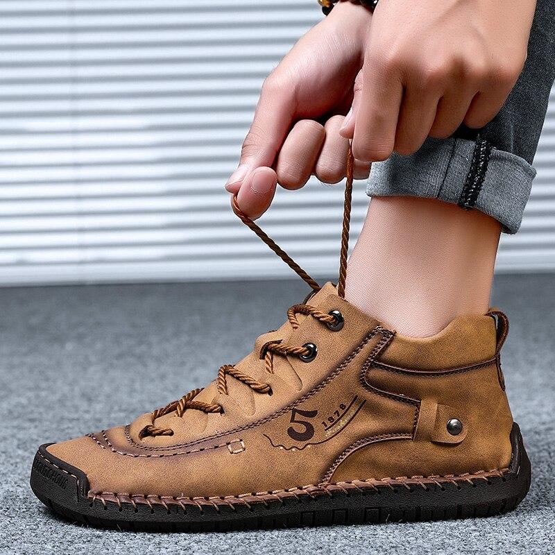 ZUNYU Homens Sapatos Casuais Estilo Britânico Sapatos de Couro Confortáveis Homens Moda Homem Andando Sapatos Tamanho Grande Marrom Preto Macio Calçado Plana 6