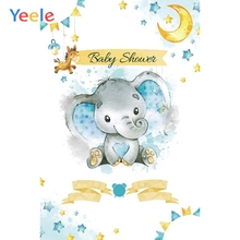Yeele Newborn Boy Baby Shower Elephant Backdrop Blue Prince Moon Star Custom Vinyl Photography Background For Photo Studio
