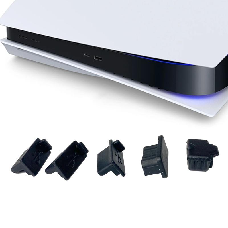 6pcs /7pcs Black Silicone Dust Plugs Set USB HDM Interface Anti-dust Cover Dustproof Plug for PS5 Game Console Accessories Parts 1