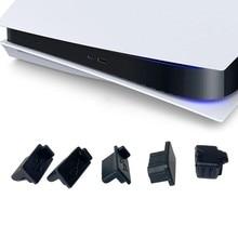 Jeu de bouchons Anti-poussière en Silicone noir, Interface USB HDM, couvercle Anti-poussière pour Console de jeu PS5, 6 pièces/7 pièces