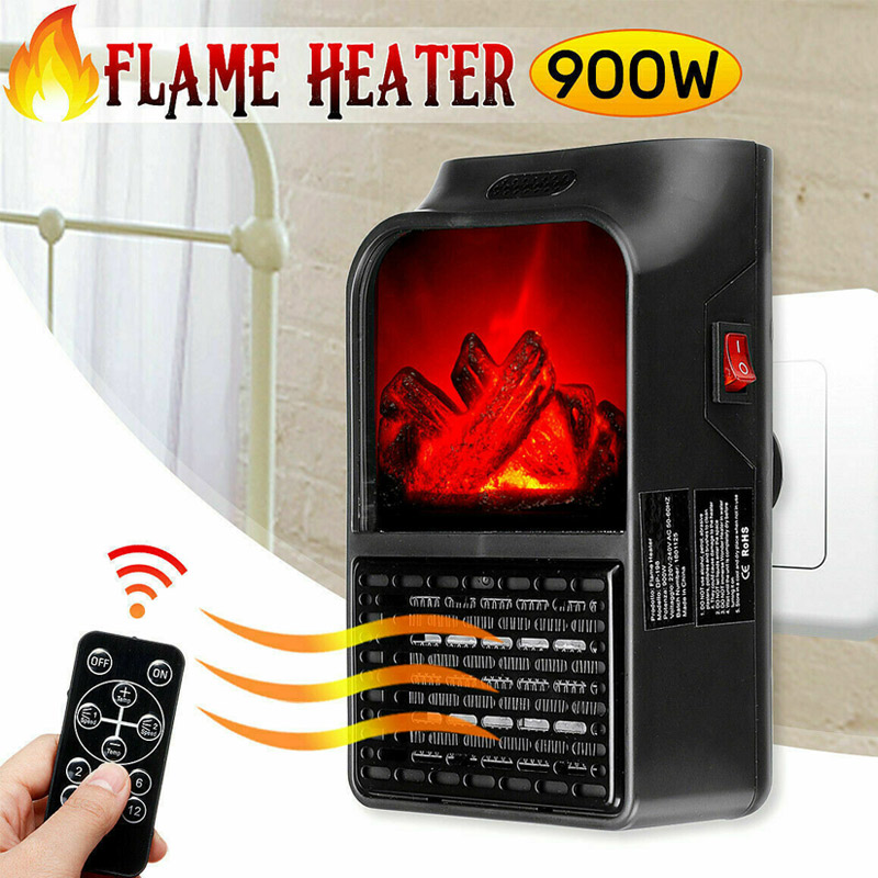 900W Wall Mount Electric Fireplace Heater Flame Air Warmer With Remote Control PI669