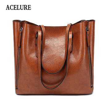 ACELURE Famous Brand Handbag Women PU Leather Shoulder Bag Casual Large Capacity Top Handle Bucket Bag