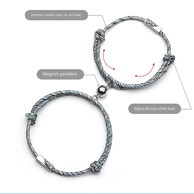 Couple Bracelet for Women Infinite Love Paired Bracelet Coupling Magnetic Clasp Adjustable Chain Bracelet Men Fashion Jewelry
