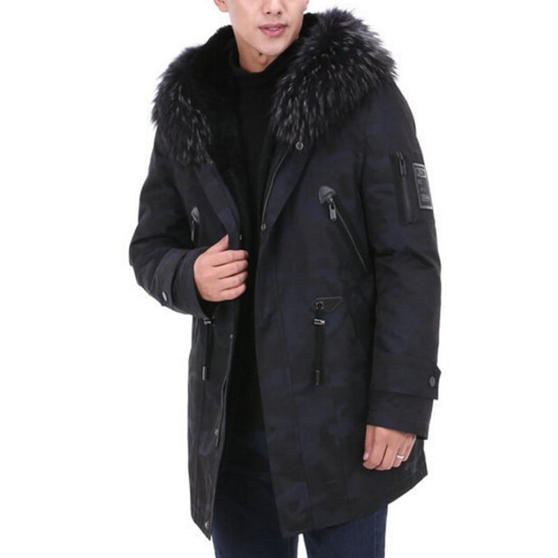Real Fur Parka Men Winter Jacket Real Raccoon Fur Natural Raccoon Hooded Long Coats Male Military Camouflage Jackets Clothing