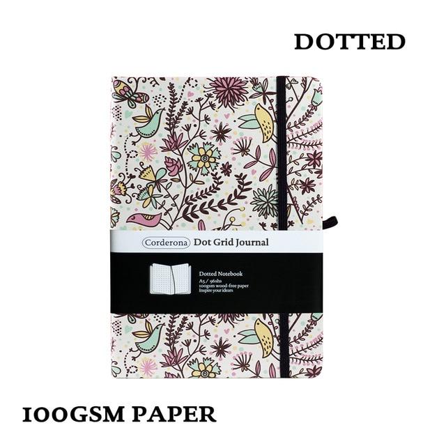 A5 cahier à pois à fleurs point grille Journal couverture rigide 100gsm bande élastique planificateur de voyage Journal