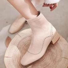 European and American personality trend women shoes spring autumn casual breathable comfortable square head wear-resistant boots(China)
