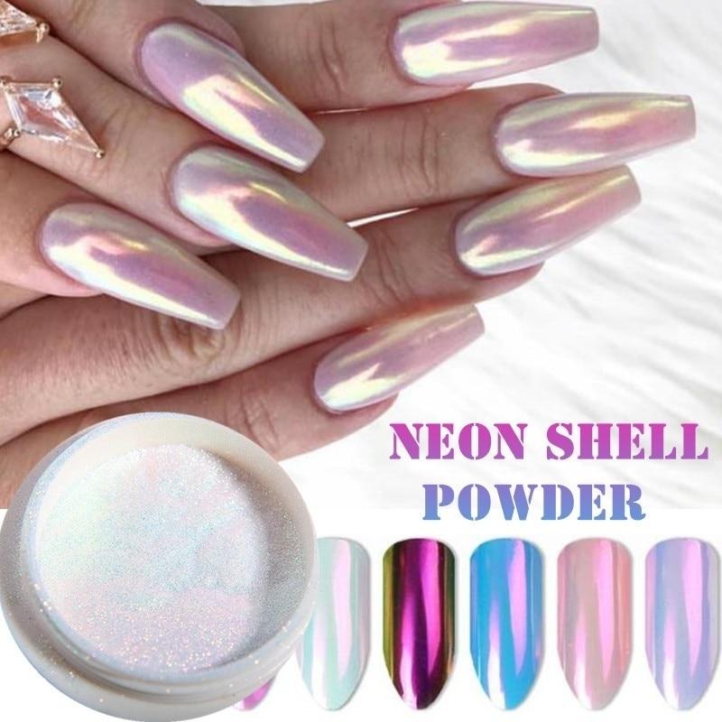 1 Piece Mermaid Nail Glitter Powder Pearl Shell Shimmer Powder Glimmer Dust Pretty Shimmer Laser Glitters Nail Art Decorations