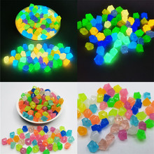 300Pcs Artificial Luminous Pebbles Glow Gravels Night Light Glow In The Dark Stones for Garden Aquarium Ornament Decor