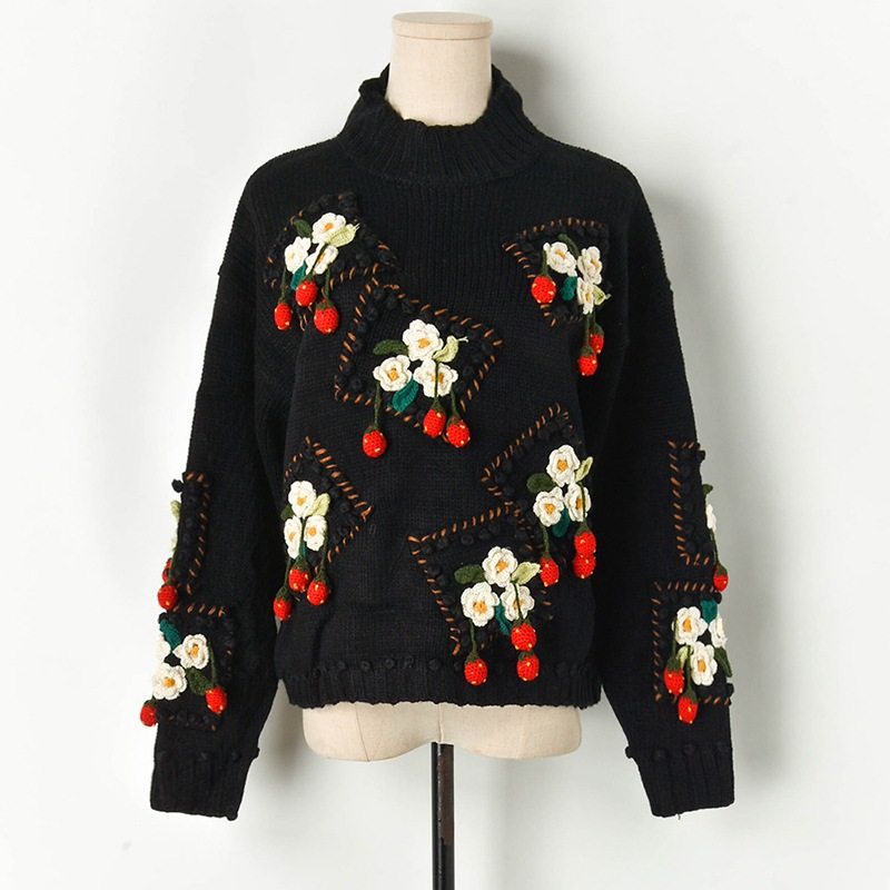 High Quality Thick Warm Winter Sweater 2109 New Hand Crochet 3D Floral Strawberry High Neck Sweater Black Lazy Oaf Sweater Tops