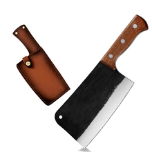 7 Cal wysokiej węgla serbski nóż do krojenia tasak warzyw drób kości cięcia duży ciężki Duty Full Tang nóż z drewnianym uchwytem Xyj tanie tanio CN (pochodzenie) STAINLESS STEEL Ekologiczne Noże forged cleaver knife Ce ue Lfgb Chef noże 7 inch 4Cr13 Stainless Steel