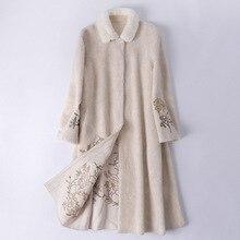 Abrigo de piel de oveja vaporosa Real, chaqueta de invierno para mujer, Cuello de piel de visón, abrigo de lana, chaqueta femenina, abrigos largos, Manteau Femme MY