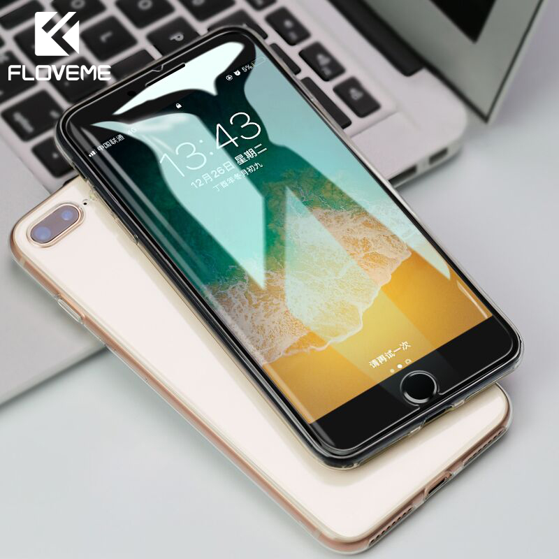 FLOVEME Protective Tempered Glass For IPhone 7 Plus X XR XS Max 9H Screen Protector Glass For IPhone 5 5S 5C SE 6 6S 8 Plus Film