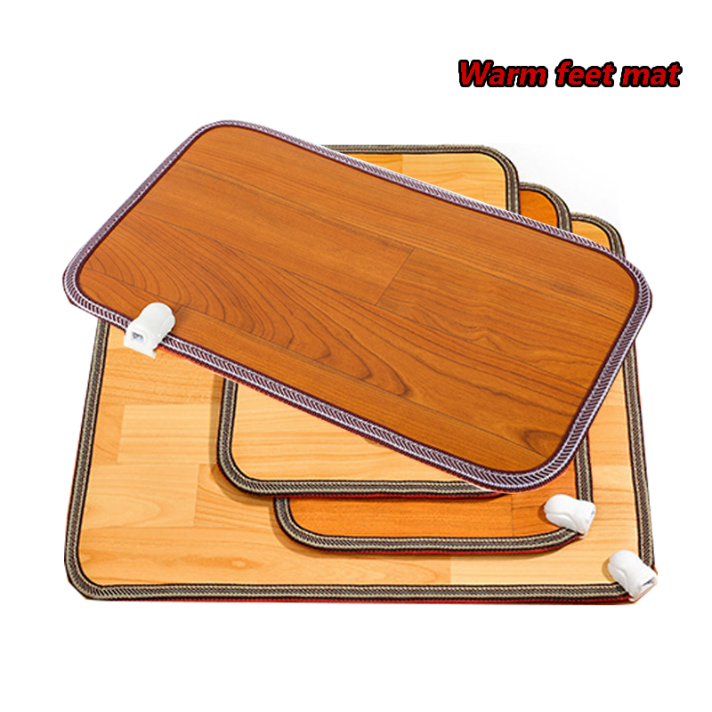 Winter Heating Foot Mat  Electric Heater Pad Warm Feet Thermostat Carpet Wood Grain Leather Warmer Rugs For Office Home