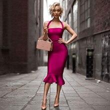Najnowszy suknia bandażowa na eleganckie przyjęcia kobiety Spaghetti pasek bez ramiączek seksowna wyjściowa sukienka klubowa kobiety syrenka Vestidos hurtownia