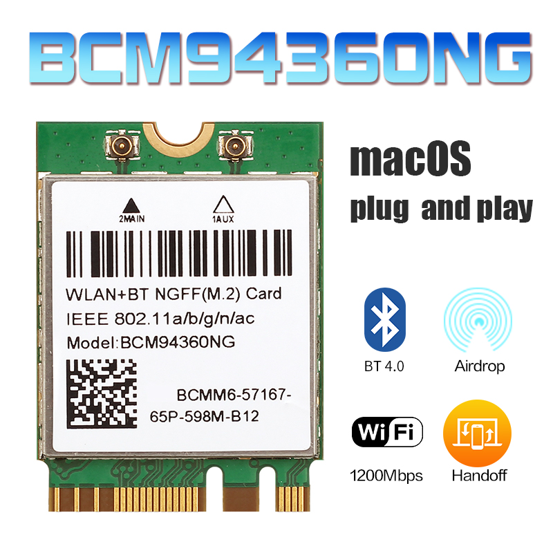 Wireless MacOS Hackintosh 1200Mbps BCM94360NG NGFF M.2 Wifi Card Bluetooth 4.0 Adapter 802.11ac 2.4G/5Ghz Than BCM94352Z DW1560
