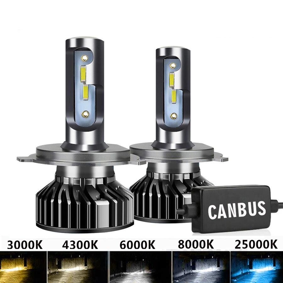 2 шт. светодиодный H7 20000LM 4300K 6000K 8000K 3000K HB3 HB4 9005 9006 H3 H1 H8 H4 H11 H9 H13 Turbo Canbus светодиодный Автомобильные фары CSP чип