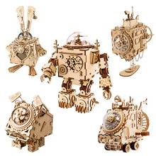 Robotime DIYไม้Clockwork Music Boxสร้างสรรค์หุ่นยนต์บ้านกระต่ายเรือตารางตกแต่งของขวัญเด็กแฟนAM
