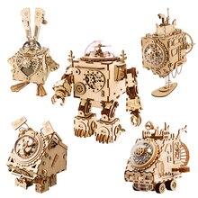 Robotime DIY Wooden Clockwork Music Box Creative Robots Rabbit House Boat Table Decoration Gifts For Kids Boyfriend AM