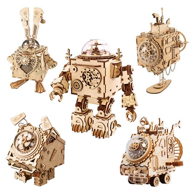 Robotime diy caixa de música relógio de madeira robôs criativos casa coelho barco mesa decoração presentes para crianças namorado am