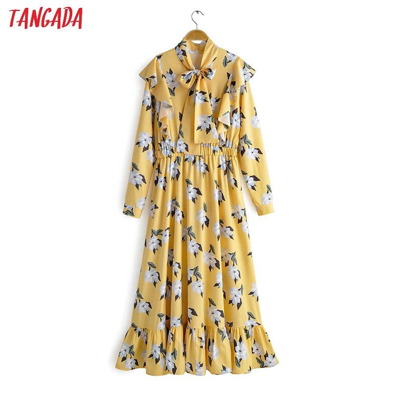Tangada Women Flower Print Yellow Dress Bow Tie Neck Ruffles Long Sleeve Female Elegant Tunic Stretch Waist Midi Dress 1F13