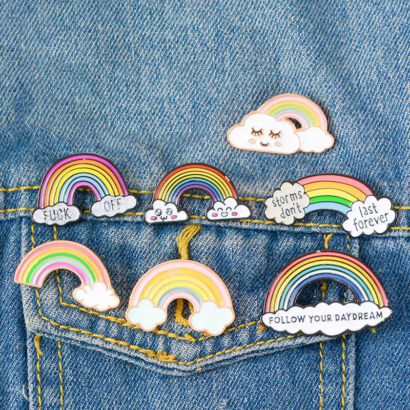 Nieuwe Cartoon Regenboog Broche Lady Enamel Pins Leuke Verlegen Cloud Badge Denim Jassen Tassen Kleding Revers Pin Gift Voor Baby kid Kinderen