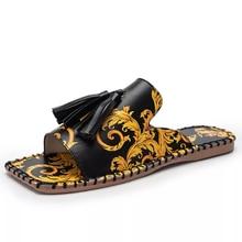 2021 Women's Sandals Fashion Tassels Summer Shoes Brand Beach Slides Retro Print Shoes For Women Flat Slipper Outdoor Sandals