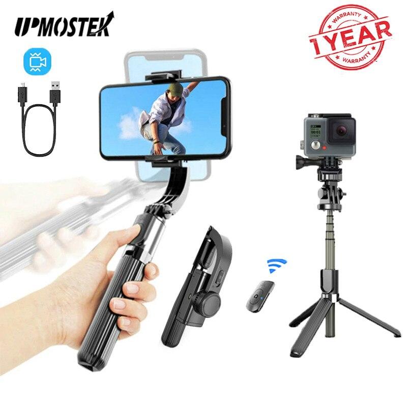 Upmostek l08 selfie vara cardan estabilizador tripé para câmera de ação do telefone com controle remoto bluetooth para smartphone gopro
