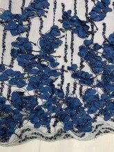 Tela de encaje de alta calidad hecha a mano con cuentas 3D, flor de noche, diseño de vestir, malla de encaje Africana 2020 Nuevo bordado, encaje de lentejuelas