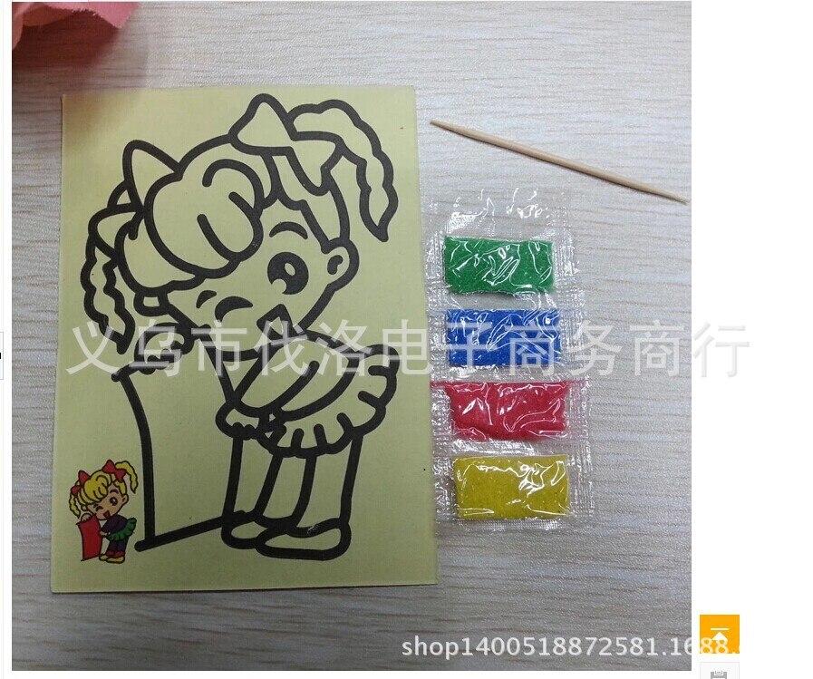 Creative Children's Sand Painting DIY Educational Toys Yellow Bottom Trumpet 9X12cm Handmade Educational Toys For Children Gifts