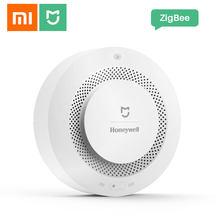 Xiaomi sensor detector de fumaça honeywell mijia alarme de incêndio audível & visual trabalho alarme com gateway 2 casa inteligente controle remoto app