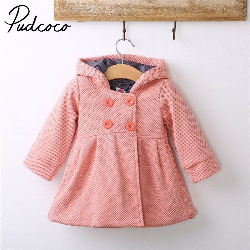 Pudcoco Autumn&Winter Baby Girl Hooded Coat Windbreaker Parka Jacket Kids Outerwear Girls Jackets