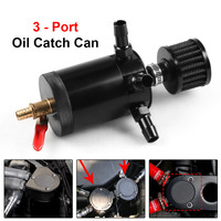 Universal Aluminum 3-port Oil Catch Can Tank with Breather Filter Engine Mini Oil Separator
