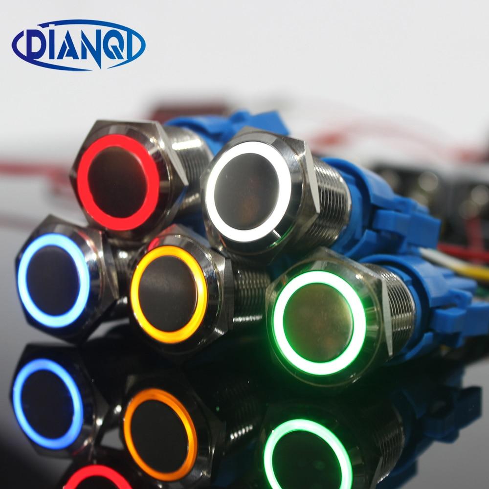 Новый тип 19 мм водонепроницаемый выключатель без фиксации металлический дверной звонок колокольчик кнопка переключатель LED кольцо знак Сброс блокировки