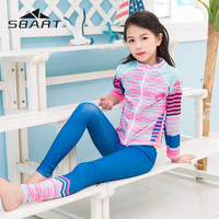 Sbart Girls UPF 50+ Lycra Long Sleeve Swimwear Rash Guard Toddler Swimsuit Wetsuit Children Sun UV Protection Rashguard S 4XL