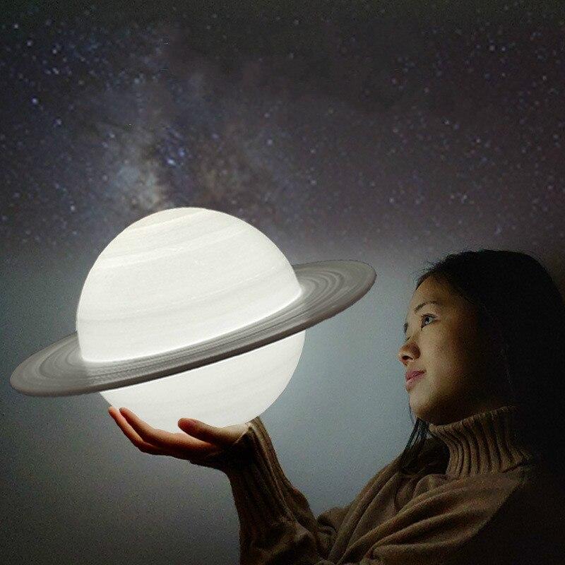 Saturn Lamp 3D Printing Night Light LED 16 Color Remote Control Bedroom Desktop Decoration Lamp Birthday Gift