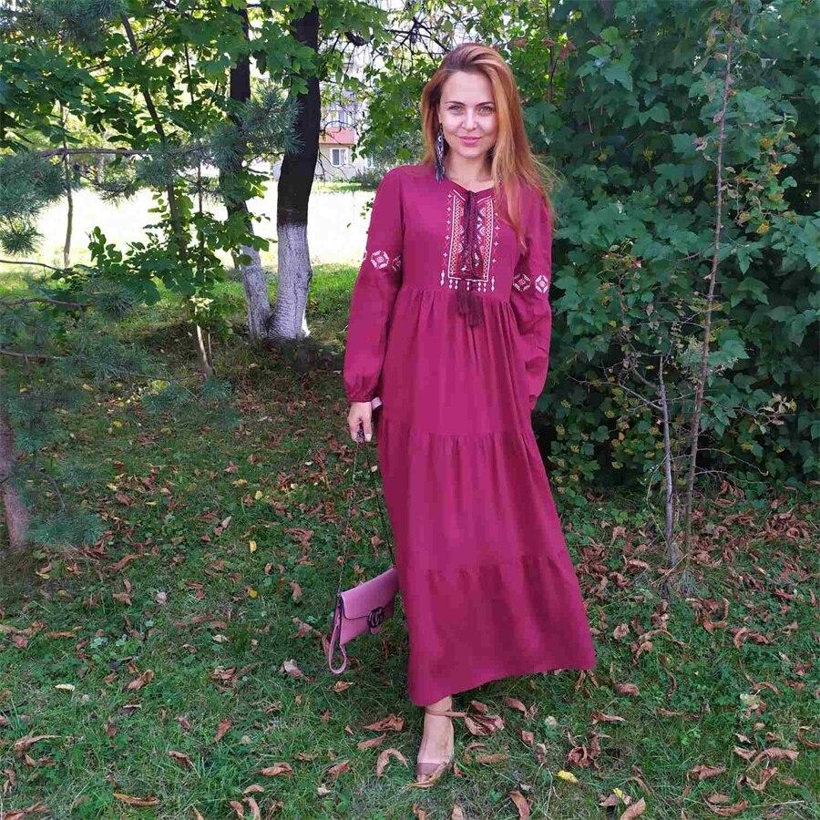 Siskakia Ethnic Geometric Embroidery Long Dress Autumn 2019 Women's Casual Maxi Dresses Long Sleeve Draped Swing Burgundy Fall (6)