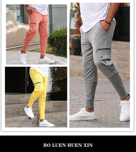 Men Multi Color Pure Cotton Joggers pants Fashionable Overalls Trousers Casual Pockets Mens Fitness High-Rlastic Casual Pants