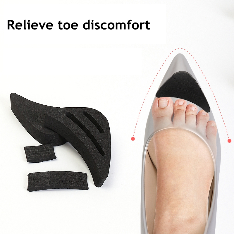 Women High Heel Toe Plug Insert Shoe Big Shoes Toe Front Filler Cushion Pain Relief Protector Adjustment Shoe Accessories 1Pair