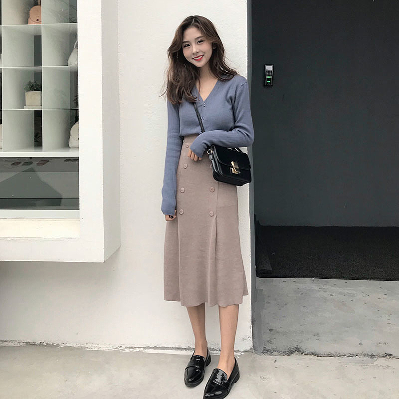 2019 Vintage Knitted Two Piece Set Women Suits Sweater Tops + Long Skirts Plus Size 2 Piece Set Autumn Winter Women Outfits