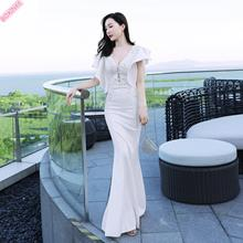 2019 Vestido Longo Cotton Polyester Mesh Lanon Zanzea Ukraine New Beaded Deep V-neck Banquet Dress Sexy Party Fishtail Long