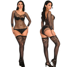 Sexy Mesh Transparent Bodystocking Lingerie Diamonds Sparkle Rhinestone Bikini Tight Fishnet Women Bodysuits Club Party Jumpsuit(China)