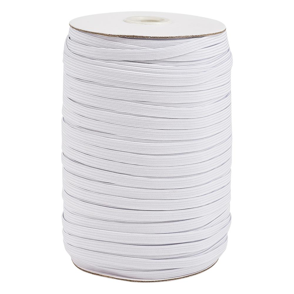Flat Elastic Cord Mask Ear Tie Rope for DIY Mask White Black Sewing Accessories 4mm 5mm 6mm 8mm 10mm 12mm 100-200 yards/roll(China)