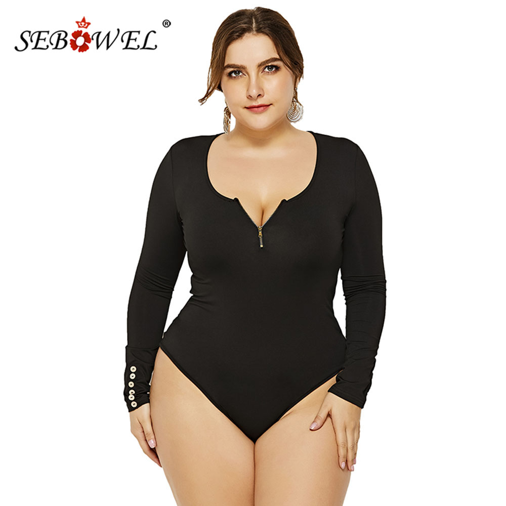 SEBOWEL Autumn 2019 Plus Size Woman Long Sleeve Zip Basic Bodysuits Tops Spring Female Ladies Body Top Clothes Large Size XL-6XL