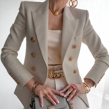 Women's New Solid Color Fashion Sexy Multi Buttons 2020 Summer And Autumn Casual Suit Office Wear Elegant Short Coat FC996 7