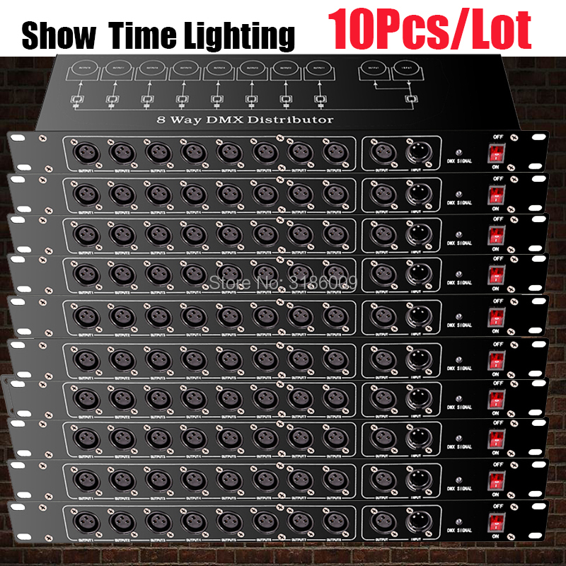Işıklar ve Aydınlatma'ten Sahne Aydınlatması Efekti'de Iyi kullanım sahne ışık kontrolörü DMX512 Splitter işık sinyal amplifikatörü Splitter 8 yönlü DMX distribütör sahne ekipmanları için title=