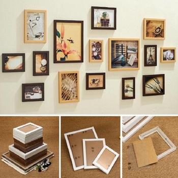 15pcs Wall Hanging Photo Frame Set For Hallway Bedroom Living Room Modern Art Home Decor Family Picture Display Wall Decoration Leather Bag