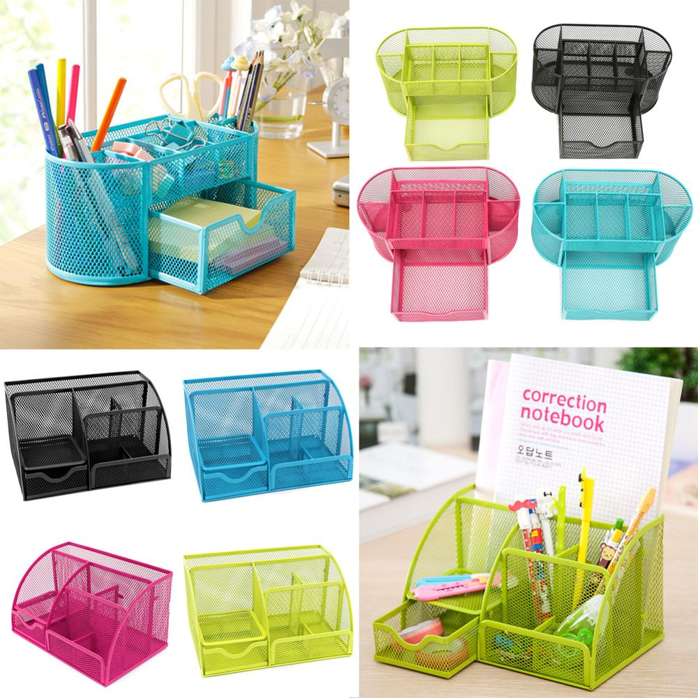 9 Cell Metal Mesh Desktop Office Pen Pencil Holder Iron Desk Organizer For Scissors Ruler Stationery School Supplies Accessories