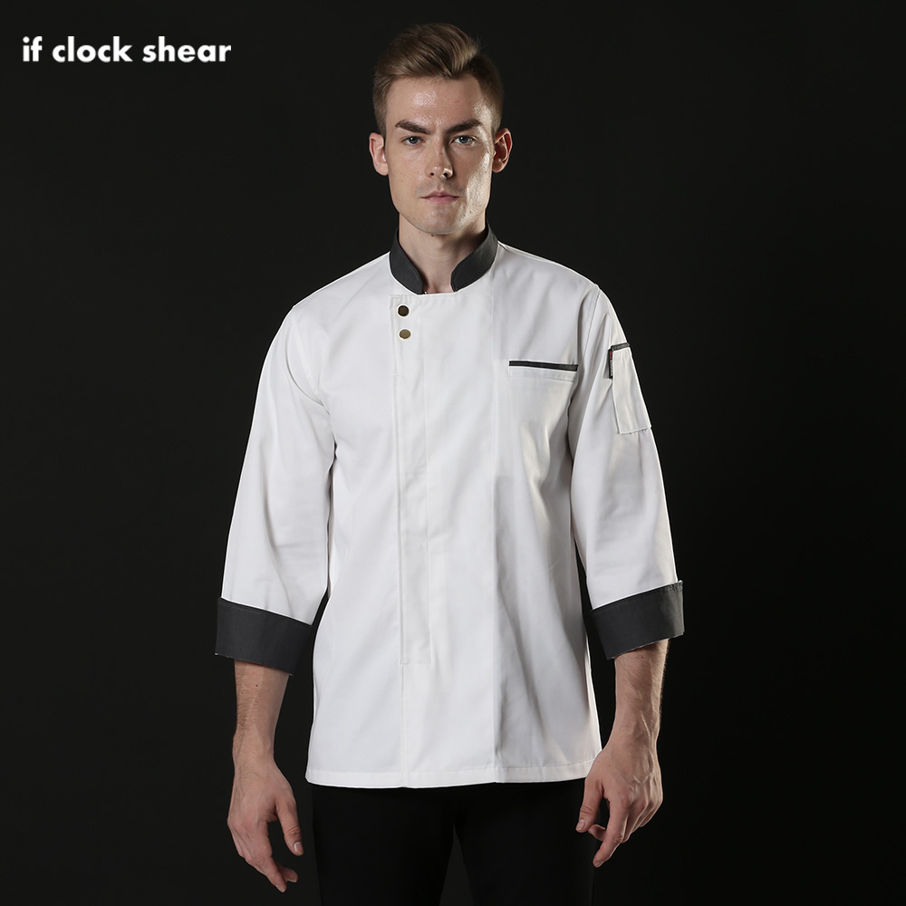 IF Catering Hotel Restaurant Kitchen Chef Uniforms Long Sleeved Chef Jackets Coffee Shop Waiter Waitress Workwaer Shirt Men Chef