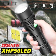Ultra potężny Xlamp XHP50 2 latarka usb akumulatorowa latarka led XHP70 2 Zoom XHP50 latarnia skorzystaj z 18650 26650 baterii tanie tanio TRLIFE 5-8 plików Ze stopu aluminium ze stopu aluminium Wysoka średnim niskie Odporny na wstrząsy Twarde Światło Samoobrona