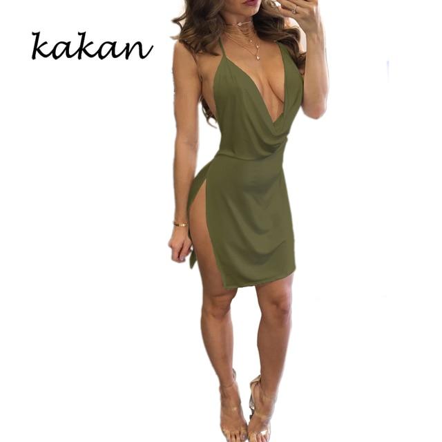 Kakan summer new women's suspender dress high slit sexy low-cut backless dress multi-color optional XS-3XL dress 10